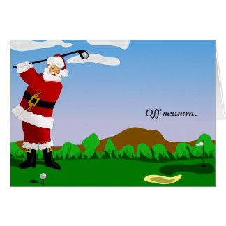 Cartão Papai noel que joga o golfe
