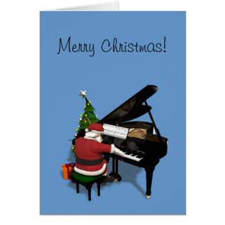 Cartão Papai Noel que joga o piano