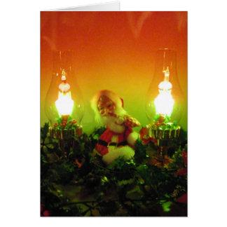 Cartão Papai noel retro e luzes da bolha
