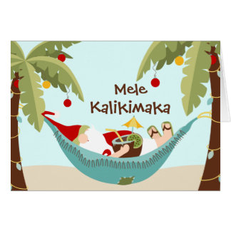 Cartão Papai noel tropical de Mele Kalikimaka