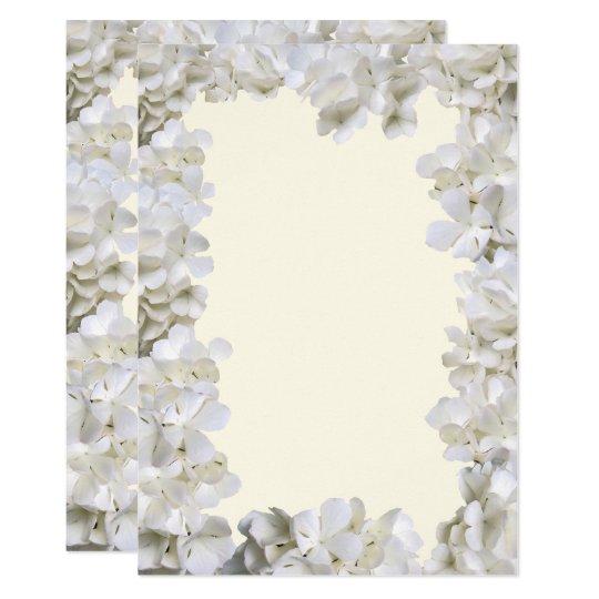 Cartão Papel floral branco do casamento de Ecru do vazio