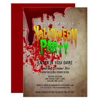 Cartão Papel sangrento do vintage do partido assustador