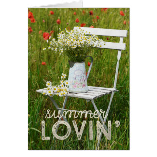 Cartão Papoilas das flores selvagens do campo do verão +