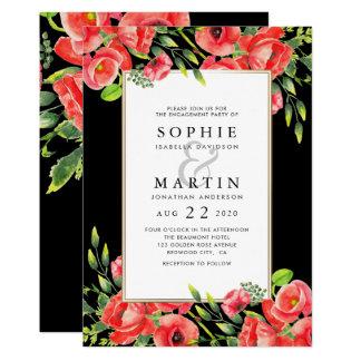 Cartão Papoilas vermelhas da aguarela & festa de noivado