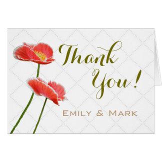 Cartão Papoilas vermelhas nupciais e obrigado que do