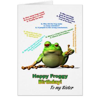 Cartão Para a irmã, os lotes do comedor de rãs gracejam