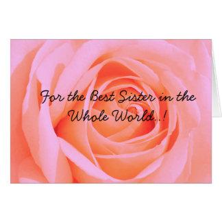 Cartão Para a melhor irmã no dia de Mohter, rosa 3 do