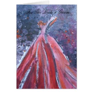 Cartão Para a noiva & o noivo (vestido vermelho)