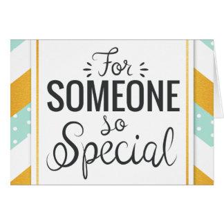 Cartão Para alguém viga minty do ouro feliz tão especial