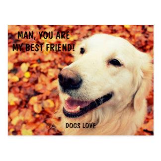 Cartão para amantes dos cães com texto e foto