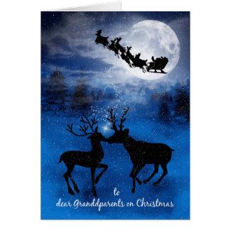 Cartão para as avós que beijam o Natal da rena