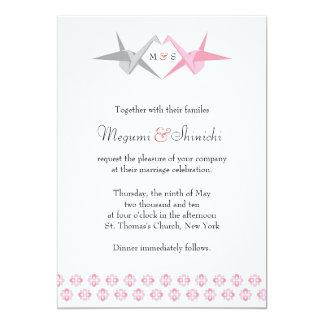 Cartão Para Carrie: Origami Cranes (rosa & prata) o