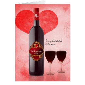 Cartão para ela no dia dos namorados com vinho tinto