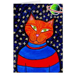 Cartão para fora espaçado do gato