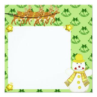 """Cartão para foto """"Boneco de neve"""" Convite Quadrado 13.35 X 13.35cm"""