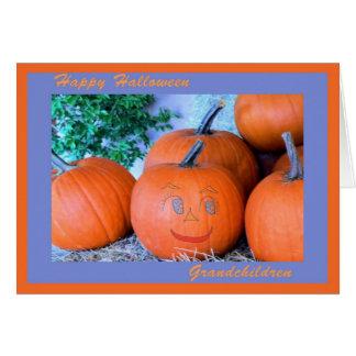Cartão para netos, abóbora feliz do Dia das Bruxas