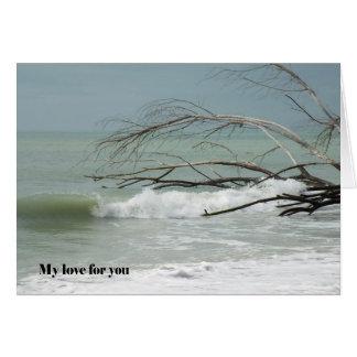 Cartão para o amor e romance, imagem do mar