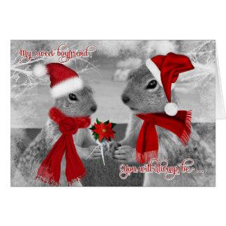 Cartão para o amor romântico do esquilo do Natal | do