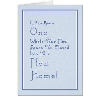 Cartão para o aniversário Home novo, luz - azul