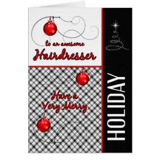Cartão para o cabeleireiro feriado vermelho e preto de |