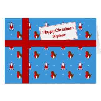 Cartão Para o pacote azul do Natal do sobrinho