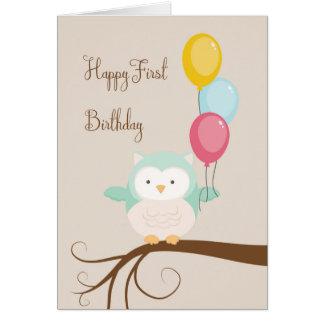 Cartão para o primeiro aniversário com coruja e
