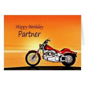 Cartão Para o sócio, motocicleta no por do sol