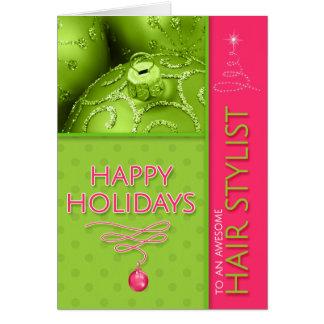 Cartão para o verde limão do rosa quente do Natal do