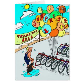 Cartão para Triathlete - balões da boa sorte do