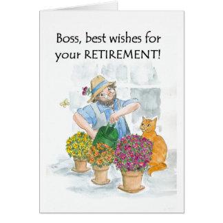 Cartão para um chefe - jardineiro da aposentadoria
