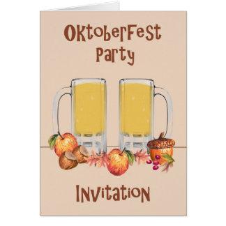 Cartão para um convite de festas de Oktoberfest