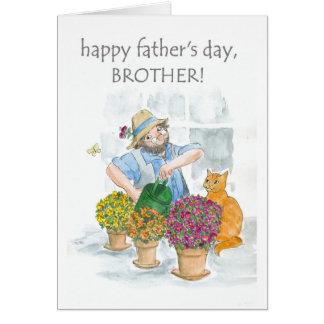 Cartão para um irmão - jardineiro alegre do dia