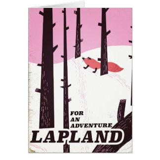 Cartão Para um poster vintage de Lapland da aventura