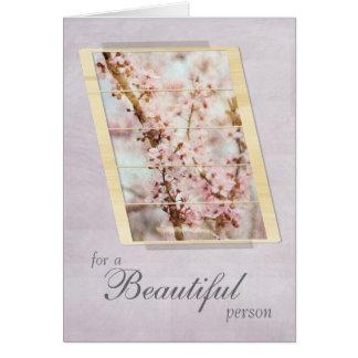 Cartão Para uma flor de cerejeira bonita da pessoa floral