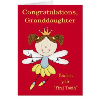 Cartão Parabéns à neta, primeiro dente perdido