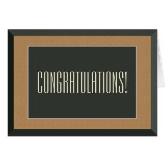 Cartão Parabéns alegres quadro ouro do casamento do noivo