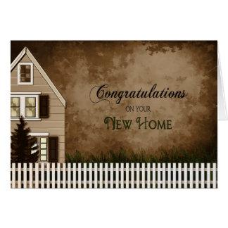 Cartão Parabéns - casa nova - tons de Brown