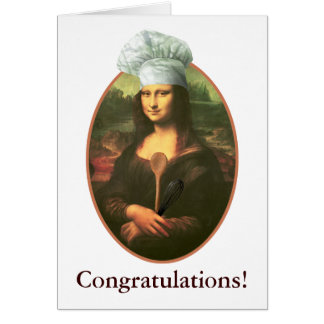 Cartão Parabéns com o cozinheiro chefe de Mona Lisa