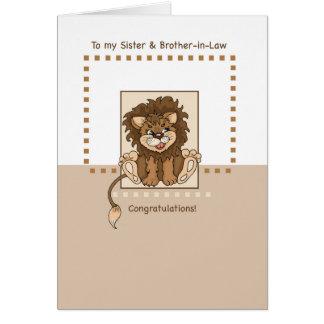 Cartão Parabéns da irmã e do cunhado no bebê