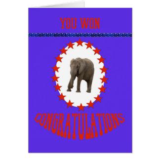 Cartão Parabéns da vitória da eleição com elefante