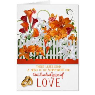 Cartão Parabéns do casamento cem anos de amor