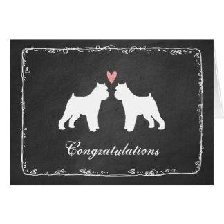 Cartão Parabéns do casamento de Bruxelas Griffons
