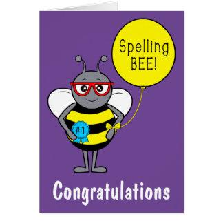 Cartão Parabéns do concurso de ortografia