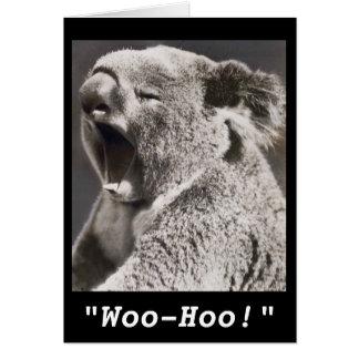 Cartão Parabéns do Koala da foto do vintage no trabalho