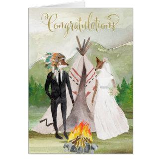 Cartão Parabéns do nativo americano em seu casamento