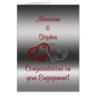 Cartão Parabéns do noivado, corações maori entrelaçados