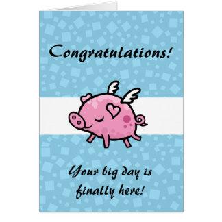 Cartão Parabéns do porco do vôo