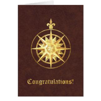 Cartão Parabéns do rosa de compasso
