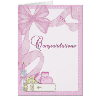 Cartão Parabéns do rosa do baptismo do batismo