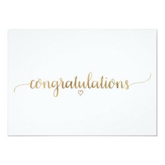 Cartão Parabéns elegantes da caligrafia do ouro